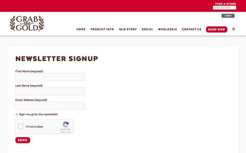Screenshot of Signup Page grabthegold.com - Newsletter Signup - Grab The Gold - captured Sept. 4, 2017