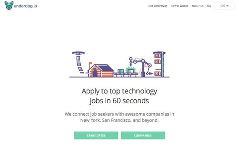 Screenshot of Home Page underdog.io - Underdog.io: Apply to top startup jobs in 60 seconds - captured June 27, 2016