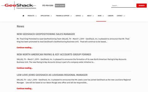 Screenshot of Press Page geoshack.com - News - GeoShack - captured June 17, 2019