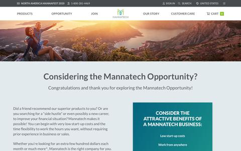 Screenshot of Signup Page mannatech.com - Opportunity – Get Started Today - captured July 19, 2019