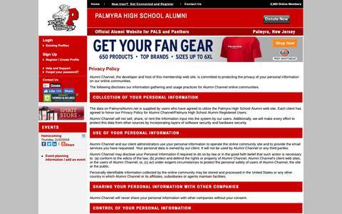 Screenshot of Privacy Page palmyraalumni.net - Palmyra High School Alumni - Privacy Policy - captured Oct. 21, 2018