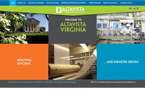 Screenshot of Home Page altavistava.com - Home - Town of Altavista, VA - captured Sept. 13, 2015