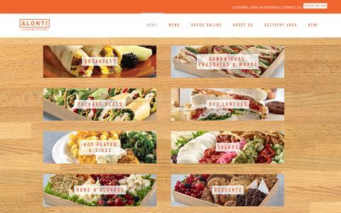 Screenshot of Menu Page alonti.com - Menu | Alonti Catering Kitchen - captured Feb. 5, 2016