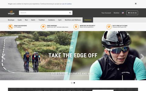 Screenshot of Home Page wiggle.co.uk - Wiggle | Cycle | Run | Swim | Tri-Sports & Bike Shop - captured Sept. 21, 2018