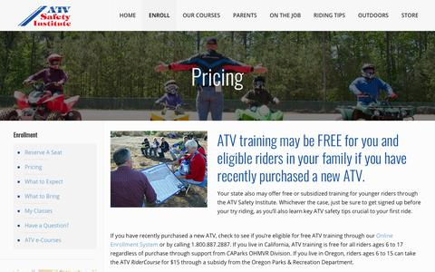 Screenshot of Pricing Page atvsafety.org - ATV Training | Sign Up Today | ATV Safety Institute - captured Jan. 16, 2018