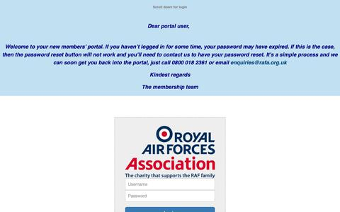 Screenshot of Login Page rafa.org.uk - Portal - RAF Association - captured Oct. 20, 2018