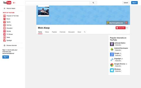 Screenshot of YouTube Page youtube.com - Mick Alsop  - YouTube - captured Oct. 22, 2014
