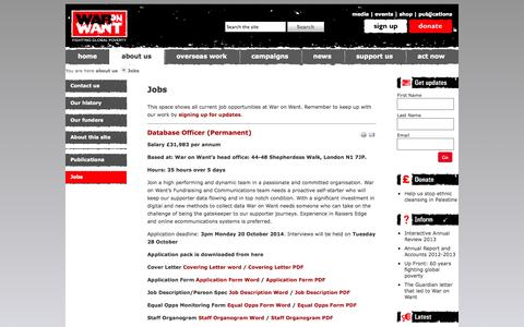 Screenshot of Jobs Page waronwant.org - Jobs | War on Want - captured Sept. 23, 2014