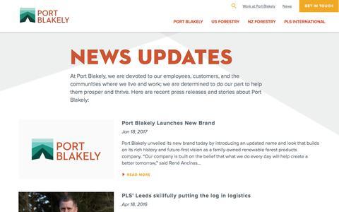 Screenshot of Press Page portblakely.com - News Updates | Port Blakely - captured July 11, 2017