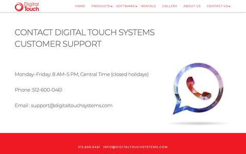 Screenshot of Support Page digitaltouchsystems.com - Support - Digital Touch Systems - captured Oct. 9, 2018