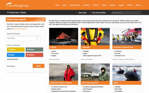 Screenshot of Products Page survitecgroup.com - Survitec Group » Products - captured Oct. 7, 2014