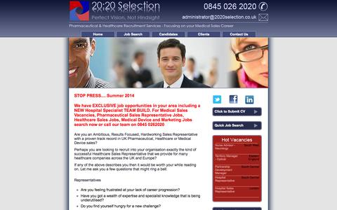 Screenshot of Home Page 2020selection.co.uk - Medical Sales Jobs | Medical Sales Vacancies | Pharma Recruitment Agency - captured Oct. 9, 2014
