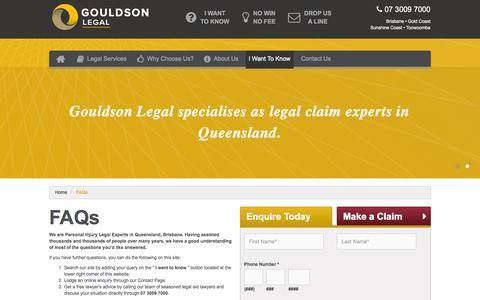 Screenshot of FAQ Page gouldson.com.au - Frequently Asked Personal Injury Claim Questions - captured Oct. 3, 2014