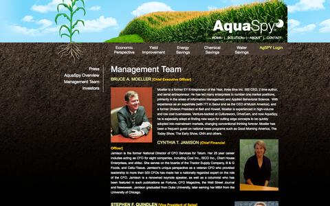 Screenshot of About Page aquaspy.com - Management Team | Aqua Spy - captured Sept. 13, 2014