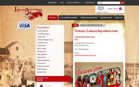 Screenshot of Contact Page lobsteranywhere.com - Contact LobsterAnywhere - captured Jan. 31, 2016