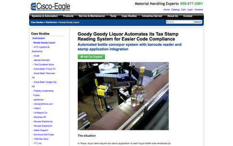Screenshot of Case Studies Page cisco-eagle.com - Automated Vision System Helps Liquor Distribution Operation - captured Jan. 5, 2017