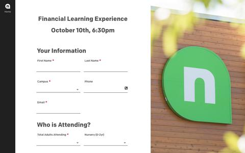 Screenshot of Signup Page newspring.cc - Financial Learning Experience - NewSpring Church - captured Oct. 10, 2017