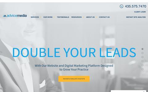 Screenshot of Home Page advicemedia.com - Medical Website Design | Medical and Dental Marketing | Advice Media - captured Feb. 9, 2020
