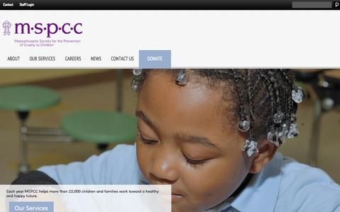 Screenshot of Home Page mspcc.org - MSPCC | Massachusetts Society for the Prevention of Cruelty to Children - captured Oct. 6, 2014