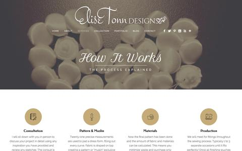 Screenshot of Services Page elisetonndesigns.com - How It Works | Custom Bridal, Gowns & Costumes - captured May 16, 2017
