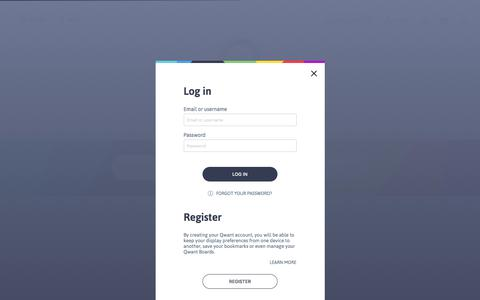 Screenshot of Home Page Login Page qwant.com - Qwant - The search engine that respects your privacy - captured Sept. 12, 2018