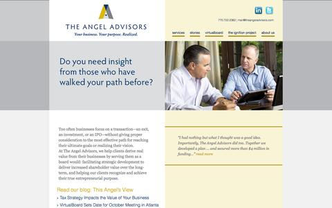 Screenshot of Home Page theangeladvisors.com - Entrepreneurial Purpose | Business Strategy | The Angel Advisors - captured Sept. 30, 2014