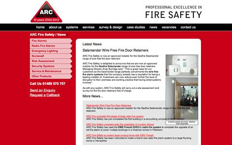 Screenshot of Press Page arcfiresafety.co.uk - News from ARC Fire Safety - captured Oct. 4, 2014
