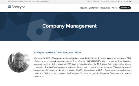 Screenshot of Team Page sonatype.com - Management | Sonatype - captured Jan. 15, 2018