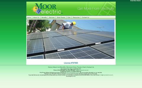 Screenshot of Home Page moorelectric-sd.com - Moor Electric San Diego - captured Oct. 6, 2014