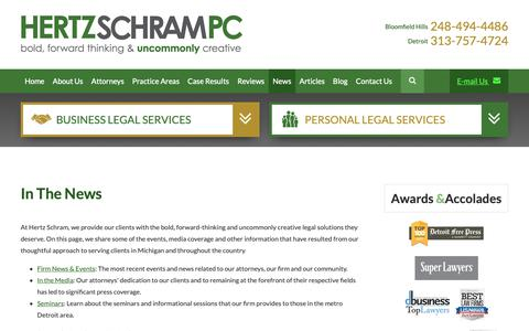 Screenshot of Press Page hertzschram.com - News | Hertz Schram PC | - captured Sept. 28, 2018
