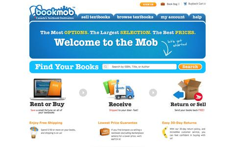 Screenshot of Home Page bookmob.ca - Cheap Used Textbooks Online! | Rent Textbooks | Sell Textbooks Canada BookMob - captured Oct. 10, 2017