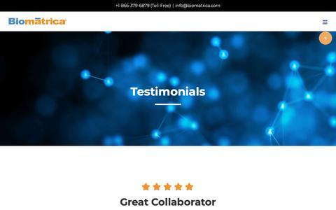 Screenshot of Testimonials Page biomatrica.com - Testimonials - Biomatrica - captured July 12, 2018