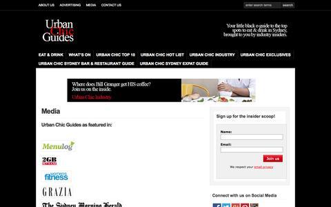 Screenshot of Press Page urbanchicguides.com - Media and Press | Urban Chic Guides | Sydney Food Blog & Restaurant Reviews - captured Oct. 26, 2014
