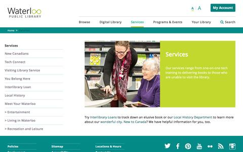 Screenshot of Services Page wpl.ca - Services | Waterloo Public Library - captured Nov. 28, 2016