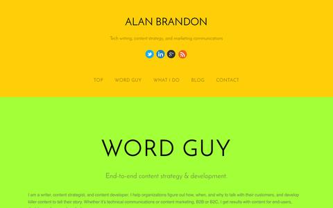 Screenshot of Home Page alanbrandon.com - Alan Brandon - captured Oct. 6, 2014