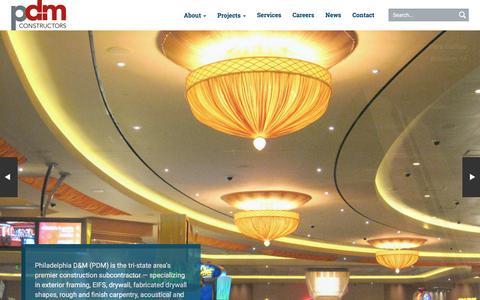 Screenshot of Home Page philadm.com - Home - PDM Constructors - captured Jan. 28, 2016