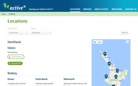 Screenshot of Locations Page activeplus.co.nz - Locations | Active Plus - captured Oct. 7, 2017