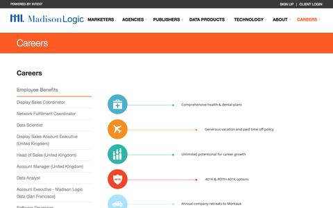 Screenshot of Jobs Page madisonlogic.com - Careers | Madison Logic - captured Oct. 28, 2014