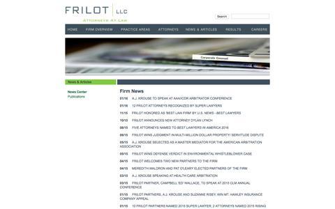 Screenshot of Press Page frilot.com - Firm News & Events Calendar | Frilot L.L.C. | Attorneys in New Orleans - captured Feb. 10, 2016