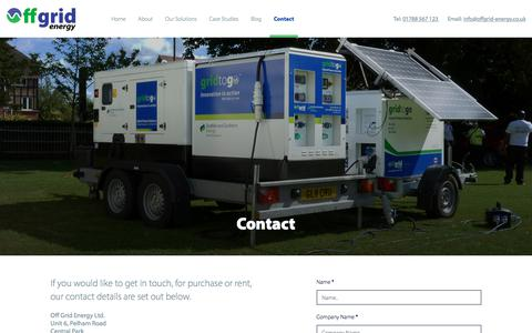 Screenshot of Contact Page offgrid-energy.co.uk - Contact - Offgrid - captured Oct. 6, 2019