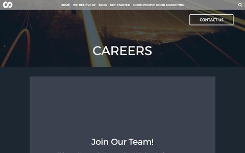 Screenshot of Jobs Page sideways8.com - Careers - Sideways8 Interactive - captured Oct. 20, 2017
