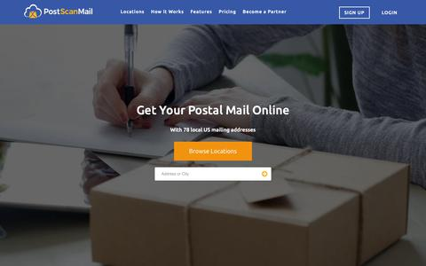 Screenshot of Home Page postscanmail.com - Mail Forwarding, Scanning and Virtual Address Service   PostScan Mail - captured March 21, 2019