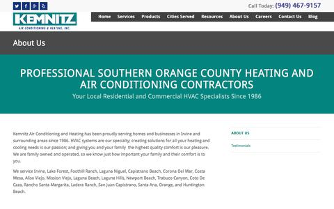 Screenshot of About Page kemnitzhvac.com - Orange County Heating and Air Conditioning Services - captured Sept. 25, 2018