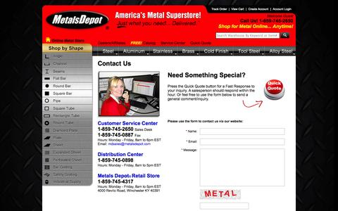 Screenshot of Contact Page metalsdepot.com - Metals Depot® - Contact Us - captured Oct. 27, 2014