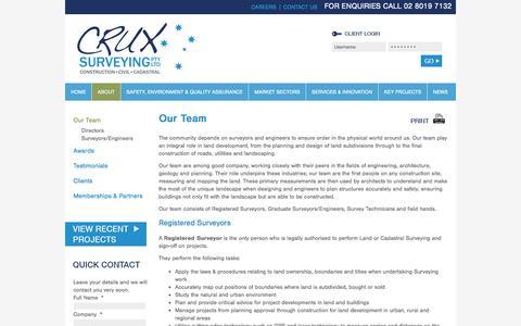Screenshot of Team Page cruxsurveying.com.au - Our Team - Crux Surveying Pty Ltd - captured Nov. 14, 2016