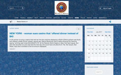 Screenshot of Press Page casinoexecutivenetwork.com - News Home - captured July 17, 2017