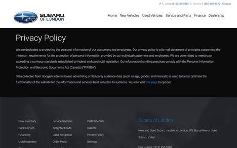 Screenshot of Privacy Page subaruoflondon.com - Privacy Policy - Subaru of London - captured Oct. 1, 2017