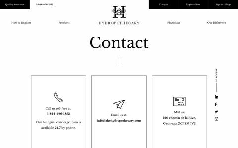 Screenshot of Contact Page thehydropothecary.com - Contact - captured Nov. 9, 2017
