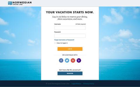 Screenshot of Login Page ncl.com - Cruises & Cruise Deals | Caribbean Cruise Vacations | Norwegian Cruise Line - captured June 21, 2019