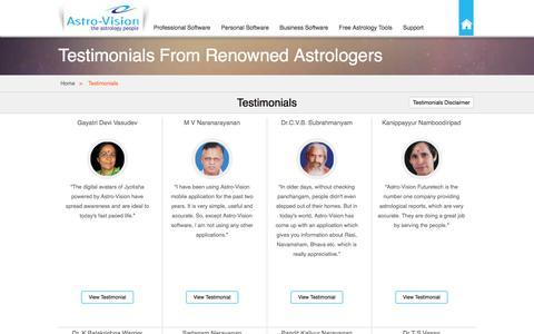 Screenshot of Testimonials Page indianastrologysoftware.com - Testimonials - IndianAstrologySoftware.com - captured Jan. 14, 2016